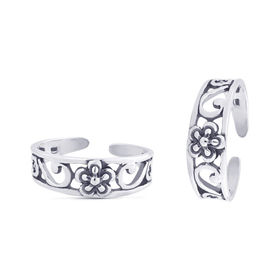 Pleasant Flower & Cut Work Silver Toe Ring-TR369