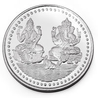 Manglam Jewellers Laxmi Ganesh 10 Grams 999 Silver Coin With Branded Packing-MJC01G10P
