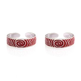 Mesmeric Red Enameled Silver Toe Ring-TRMX033