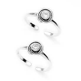 Cute White Stone Silver Toe Ring-TR220