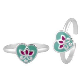 Effulgent Enamel Heart & Flower Sterling Silver Toe Ring-TR383