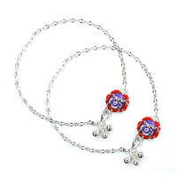 Dazzling Flower Lock Silver Anklets-ANK042