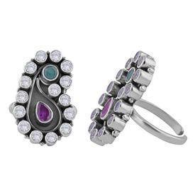 Phenomenal Multi Color Zircon Sterling Silver Toe Ring-TRMX064