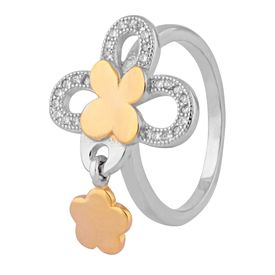 Flower Design Hanging Charm Two Tone CZ Silver Finger Ring-FRL122