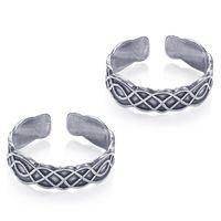 Antique Cutwork Design Sterling Silver Toe Ring-TR458