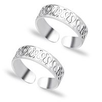Artistic Cutwork Sterling Silver Toe Ring-TR463