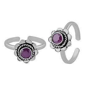 Peerless Flower Design Zircon Sterling Silver Toe Ring-TRMX053