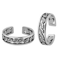 Marvelous Leaf Cutwork Sterling Silver Toe Ring-TR386
