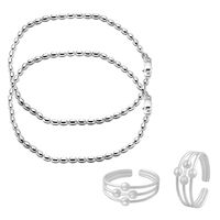 Pearl Silver Anklets & Toe Rings Combo-ANKTR001