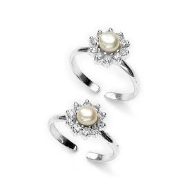 Charming Floral Zircon & Pearl Toe Ring-TR306