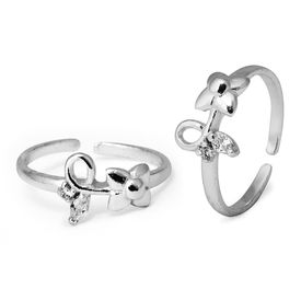 Pleasant Flower Shape White CZ Toe Rings-TR329