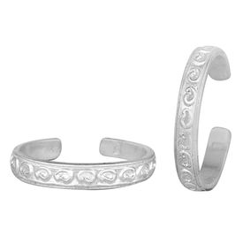 Flat Engraved Silver Toe Ring-TRRD037