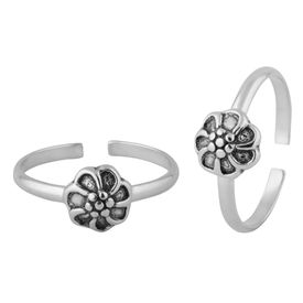 Flower Design Sterling Silver Toe Ring-TR400