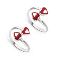 Top Openable Enamel Heart Sterling Silver Toe Ring-TR404