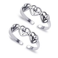 Cutwork Heart Silver Toe Ring-TR141