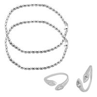 Graceful Sterling Silver Anklets & CZ Toe Rings Combo-ANKTR002