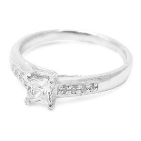White CZ Silver Finger Ring-FRL003