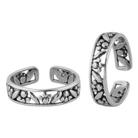 Frizzy Cutout Silver Toe Ring-TR377