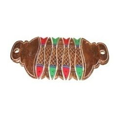 Aakriti Arts Handpainted Wooden Tray Fish Shape, brown, 14.5 x6.5