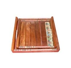 Aakriti Arts Wooden Sheesham Wood Trays - 02, wooden brown, 10x10&8x8