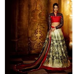 Klaur Collection Designer Lehengas Off White, off white, bangalore silk