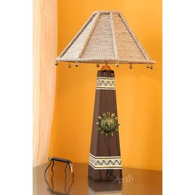 Handpainted Wooden MDF Lamp 14 inch With 13 inch Shade by Aakriti Arts, brown, 14