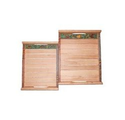Aakriti Arts Wooden Sheesham Wood Trays - 02, wooden brown, 14x10&12x8