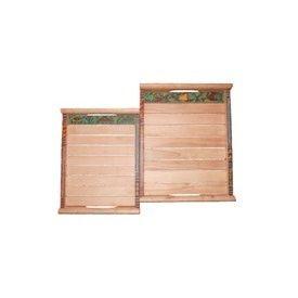 Aakriti Arts Wooden Sheesham Wood Trays - 02, wooden brown, 14x10&12x8