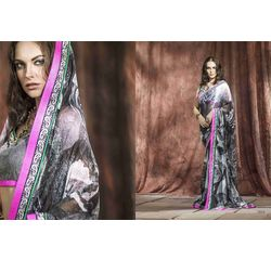 Mannat Collection Printed Georgette Sarees Black, black, georgette, printed