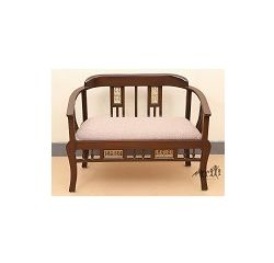 Aakriti Arts Sofa Chair Double Teak Wood with Dhokra Brass Work, beige,  l b h   51 25 31  cm sitting space 44 cm