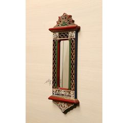 Aakriti Arts Handcrafted Wooden Mirror 20x7 inch, wooden brown, 20x7