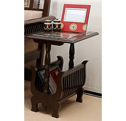 Aakriti Arts Magazine Stand teak Wood, wooden brown