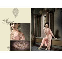 Hanin Collection Vol 3 Salwar Suit Semistitched Peach, peach, silk