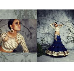 Designer Lehenga Collection Divyam Off White & Blue, off white &  blue, bhagalpur silk