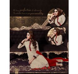 Akiraa Collection Vol 5 Designer Salwar Suit Unstitched Beige & Red, beige & red, georgette