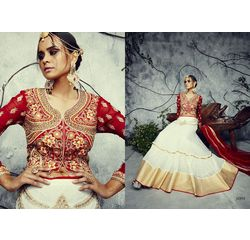 Designer Lehenga Collection Divyam Off White & Red, off white & red, bhagalpur silk
