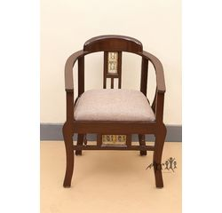 Aakriti Arts Sofa Chair Single Teak Wood with Dhokra Brass Work, beige, 21 x18 x30  inch sitting space 18 inch