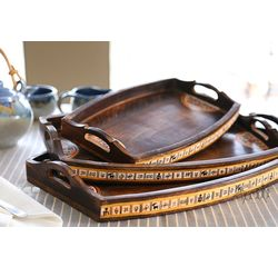 Aakriti Arts Handpainted Wooden Tray Set of 3, brown, 18 x12 /15 x10 /12 x8