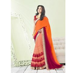 Zeenat Collection Vol 3 Designer Heavy Work Georgette Saree Orange, orange, georgette
