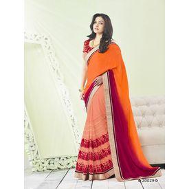 Zeenat Collection Vol 3 Designer Heavy Work Georgette Saree Orange, orange, georgette