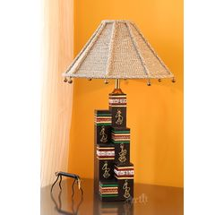 Handpainted Wooden Lamp 12 inch With Dori shade by Aakriti Arts, antique, 12