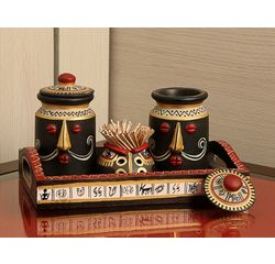 Aakriti Arts Handpainted Salt Pepper N Toothpick holder with Tray, antique, 9 x5
