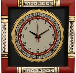 Aakriti Arts Handpainted Wall Clock with Warli work 10x10G inch, black maroon, 10x10  g