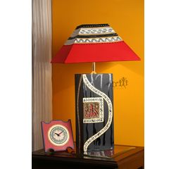 Handicraft Wooden Lamp 12 inch With Shade by Aakriti Arts, wooden brown, 12