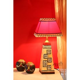 Handpainted Wooden Lamp 10 inch with Shade by Aakriti Arts, shimmer gold, 10