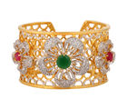 Luxurious Diamond Flower Kada, red & green