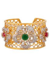 Luxurious Diamond Flower Kada, red & green