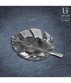 Leaf Platter - Small, silver metal