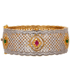 Royal Emerald & Ruby Bangle Bracelet, red & green
