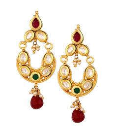 Kundan Chand Bali in Emerald & Ruby, red & green